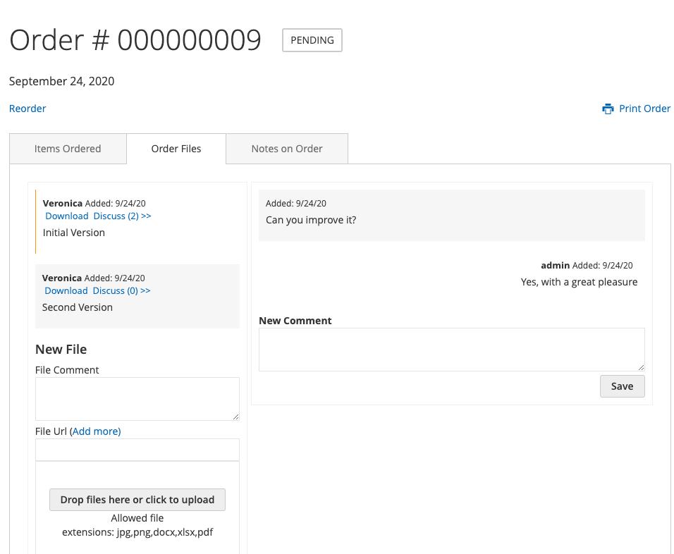 Order Files in Customer Portal